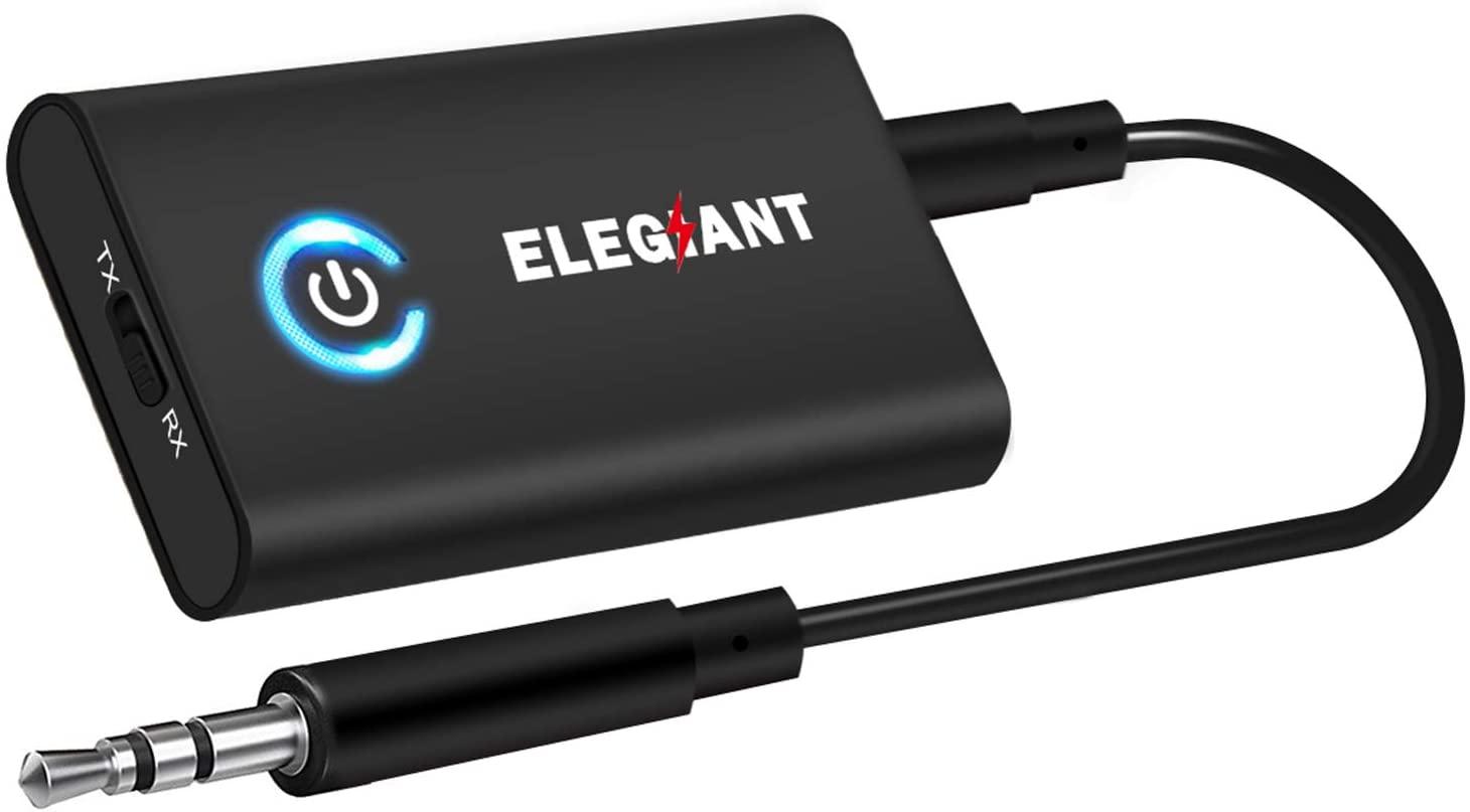 ELEGIANT Transmetteur Bluetooth 5.0 Récepteur et Émetteur 2-en-1 Adaptateur Bluetooth sans Fil Double Connexion Jack 3