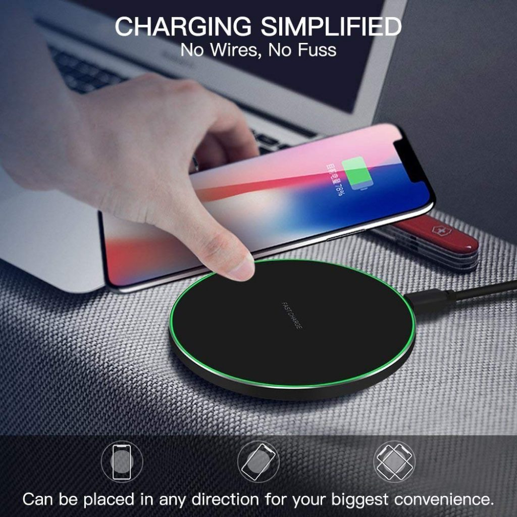 Limxems Chargeur sans Fil 10 W Universel Qi Charging Pad