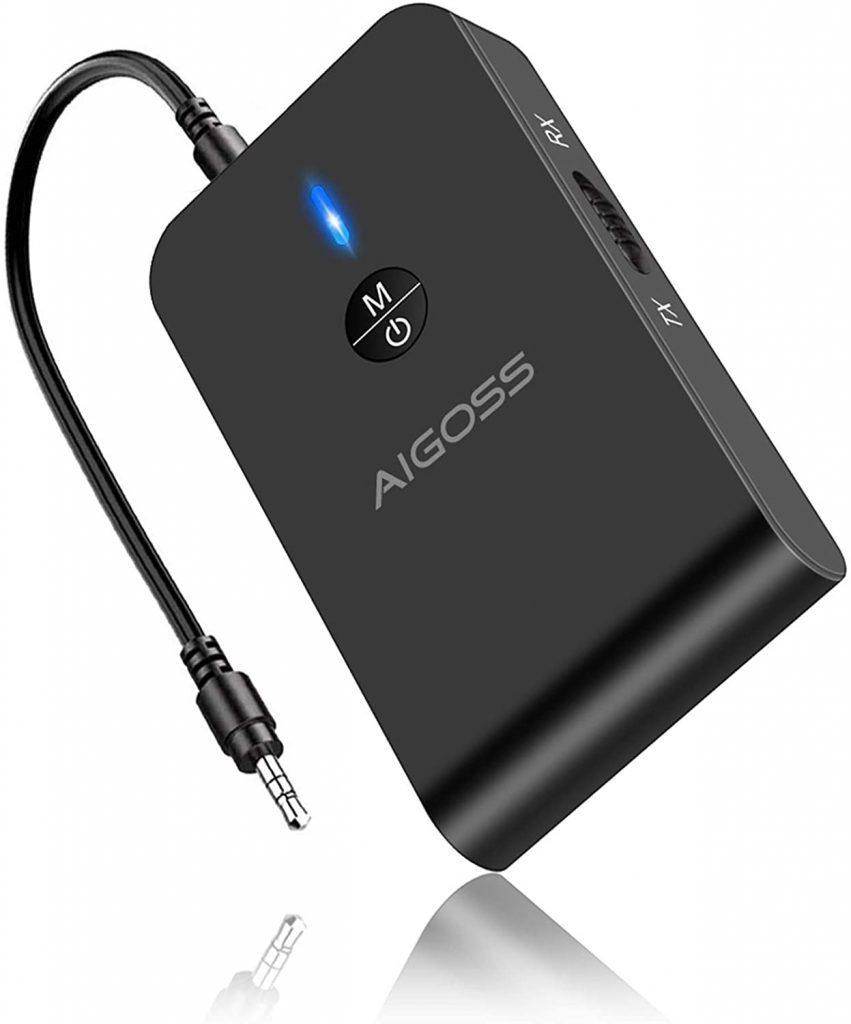 Aigoss Adaptateur Bluetooth 5.0 Transmetteur et Récepteur 2-en-1 Jack Câble Audio 3,5mm